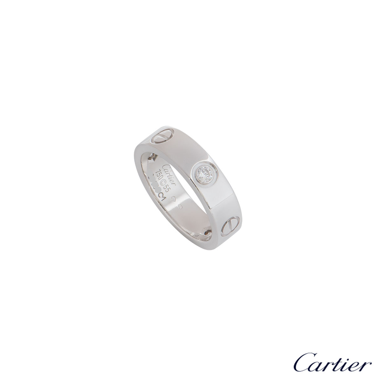 Cartier White Gold Half Diamond Love Ring Size 55 B4032555